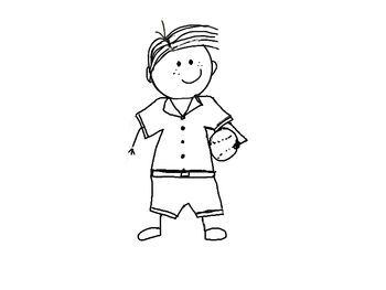 Boy with ball line drawing