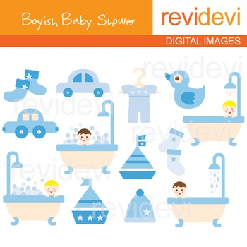 Boyish Baby Shower Clip art