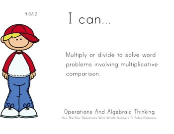 Boys Theme 4th grade math Common Core Posters fourth Grade