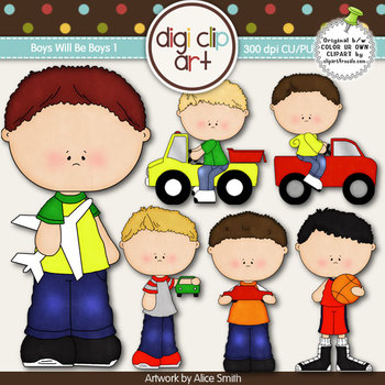 Boys Will Be Boys 1 -  Digi Clip Art/Digital Stamps - CU Clip Art