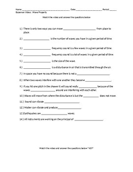 Bozeman Wave Property Worksheet with KEY
