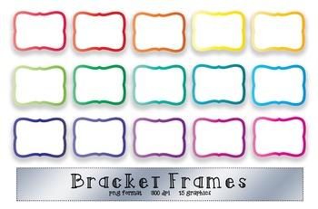 Bracket Frame Clip Art - Bright Rainbow Color Borders - 16