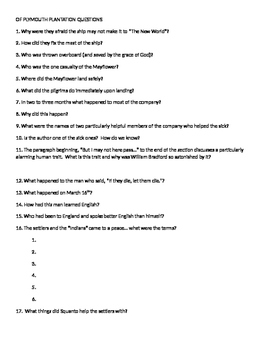 Bradford Of Plymouth Plantation Comprehensive Questions