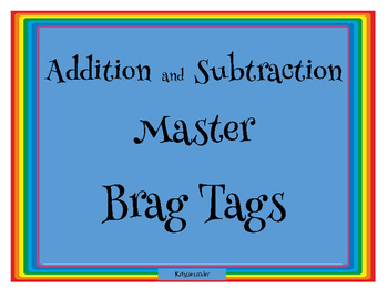 Brag Tags Addition and Subtraction Masters