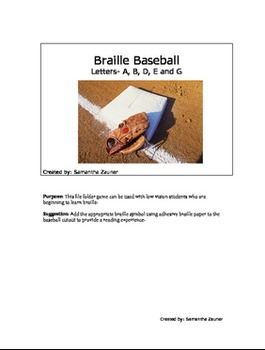 Braille Baseball File Folder Game