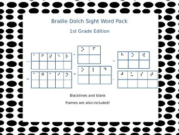 Braille Dolch Sight Word Activity Cards 1st Grade (Grade 1
