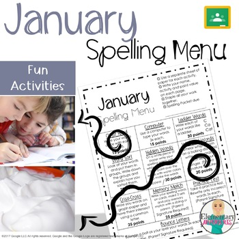 Spelling Menu - January - Homework Activities