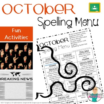 Spelling Menu - October - Homework Activities