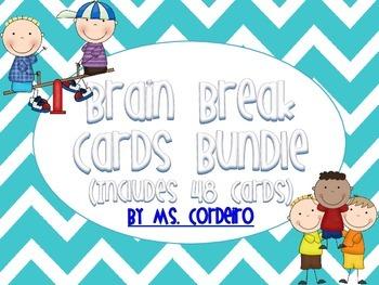 Brain Break Cards - 48 Cards - Chevron Themed