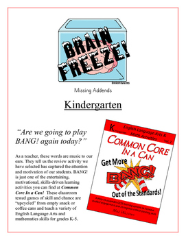 """Brain Freeze!"" Missing Addends Kindergarten Common Core Game"