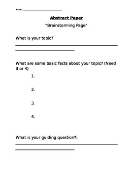 Brainstorming Packet for Abstract Paper