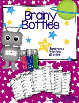 Brainy Bottles 4th-5th - ELA Word Search {Homophones, Syno