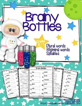 Brainy Bottles K-1st - ELA Word Search {Plural words, rhym