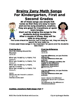 Brainy Zany Math Songs for Kindergarten, First Grade, and