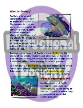 Branches of Earth Science Guided Reading