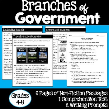Branches of Government Informational Text Study