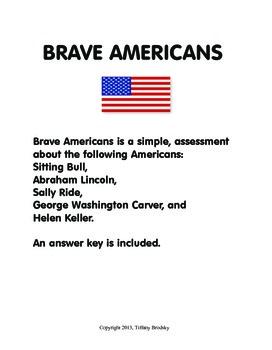 Brave Americans A History Recap Assessment or Quiz