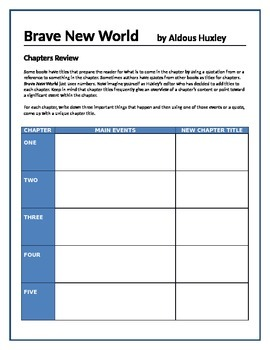 Brave New World - Chapters review activity