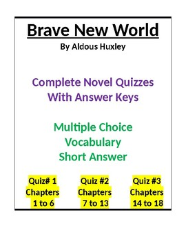 Brave New World Complete Quiz Set - Answer Key Included