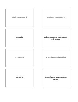 Bravo French textbook chapter 1, lesson 1 Memory game/matc