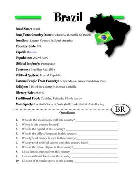 Brazil Information & Worksheet