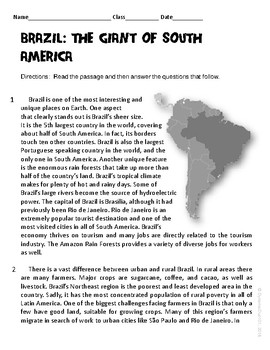 Brazil: The Giant of South America Informational Text Test