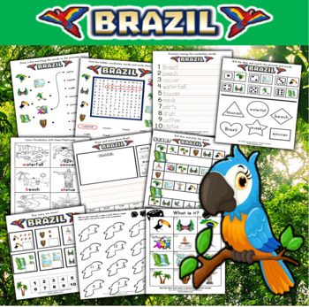 Brazil Themed Activity Set / Worksheets + Flashcards