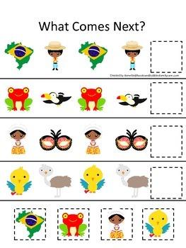 Brazil What Comes Next preschool math game.  Printable day