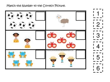 Brazil themed Match the Number preschool learning game.  D