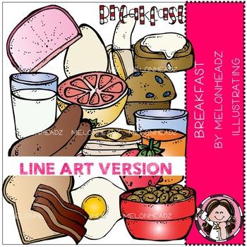 Melonheadz: Breakfast clip art - LINE ART