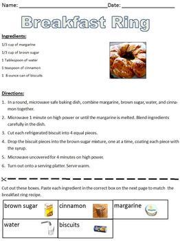 Breakfast Ring Recipe; Informational Text; life skills/coo