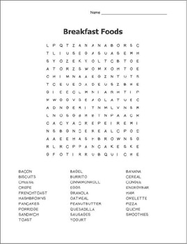 Breakfast Wordsearch