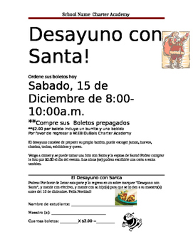 Breakfast with Santa Flyers to preorder tickets Spanish Version