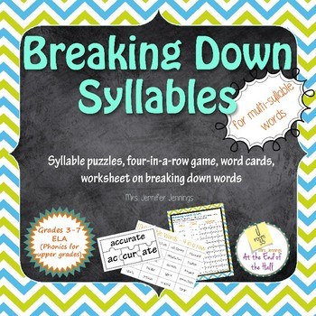 Breaking Down Multi-Syllable Words Phonics Activities