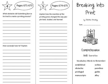 Breaking Into Print Trifold - Treasures 6th Grade Unit 6 Week 4