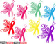 Breast Cancer Butterfly SVG Props clipart Awareness autism