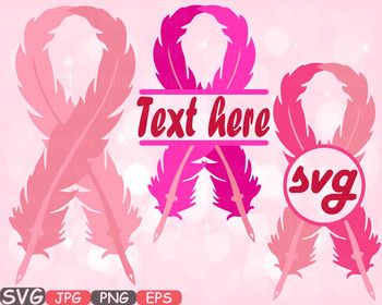 Breast Cancer birds Feathers SVG clipart Awareness circle