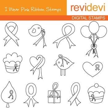 Breast cancer awareness, pink ribbon line art - blackline