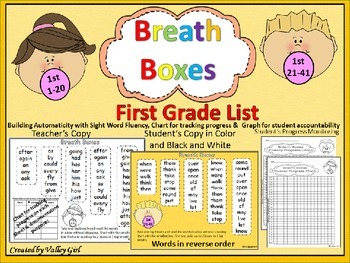 Breath Boxes for automaticity of First Grade Sight Words