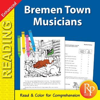 Bremen Town Musicians: Read & Color - Enhanced