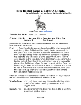 Brer Rabbit Earns a Dollar-A-Minute - Small Group Reader's