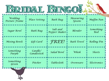 Bridal Shower Bingo for Teacher Parties