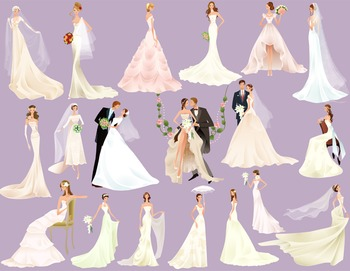 Bride Groom Clip Art Wedding ClipArt Digital Bride Clipart