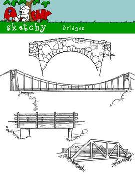 Bridge Clipart / Graphics - 300dpi Black Lined and White T