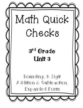 Bridges in Mathematics 3rd Grade: Unit 3 Quick Checks