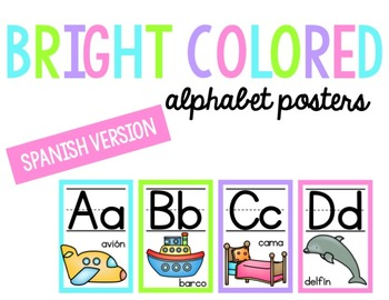 Bright Alphabet Posters- Spanish