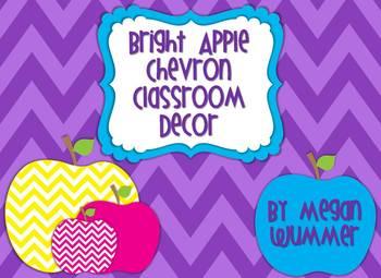 Bright Apple Chevron Theme Classroom Decor & Word Wall Headers