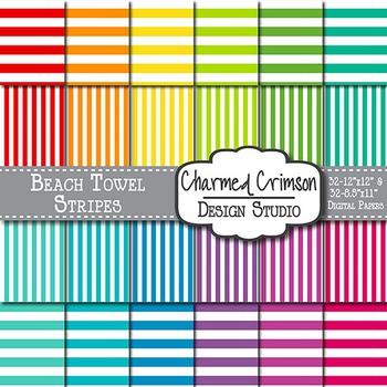 Bright Beach Towel Stripes Digital Paper 1193