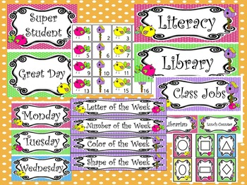 Bright Birdies themed Printable Classroom Accessories and