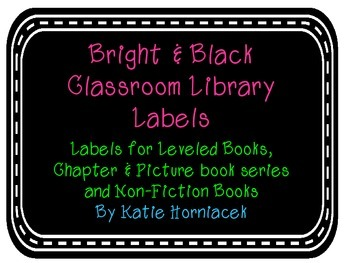 Bright & Black Classroom Library Labels